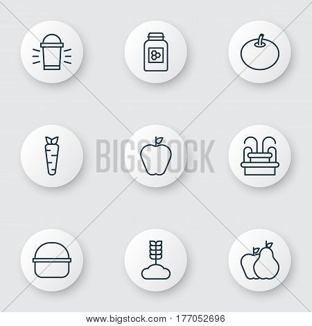 Set Of 9 Planting Icons. Includes Jar, Cereal, Hang Lamp And Other Symbols. Beautiful Design Elements.