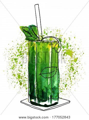 A vector and watercolor drawing of a mojito cocktail with mint leaves, a wedge of lime, and a drinking straw, on green watercolour textures with copy space