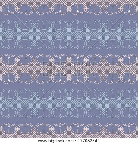 Abstract lace decor, seamless pattern vector in beige and blue colors. Vintage background or wallpaper