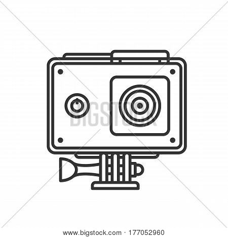 Action camera in protection case linear icon. Thin line illustration. Contour symbol. Vector isolated outline drawing