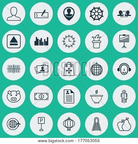 Set Of 25 Universal Editable Icons. Can Be Used For Web, Mobile And App Design. Includes Elements Such As Sun Clock, Calling Card, Fruits And More.