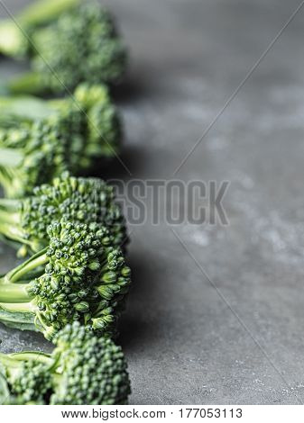 close up of fresh broccolini green vegetable
