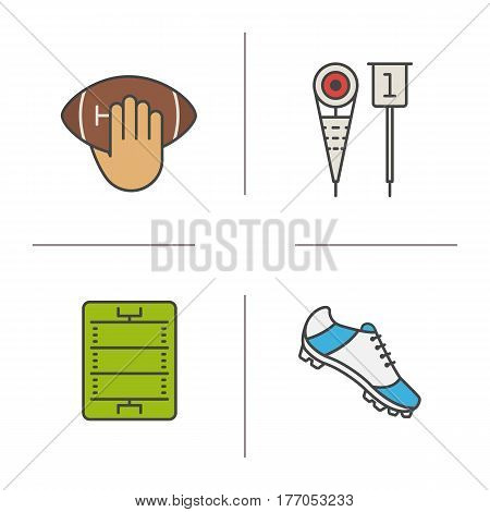 American football color icons set. Hand holding ball, player's shoe, sideline markers, field. Isolated vector illustrations