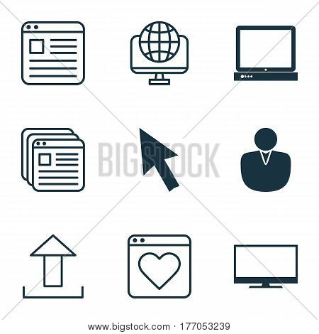 Set Of 9 Internet Icons. Includes Followed Website, Website Bookmarks, Computer Network And Other Symbols. Beautiful Design Elements.