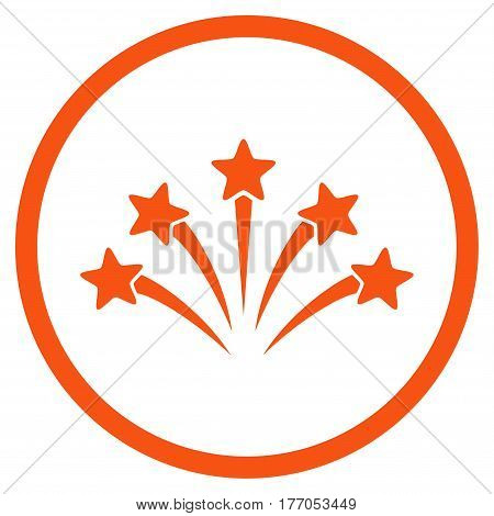 Fireworks Burst rounded icon. Vector illustration style is flat iconic symbol inside circle, orange color, white background.