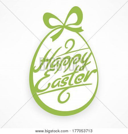 White Easter Egg With Green Lettering & Bow