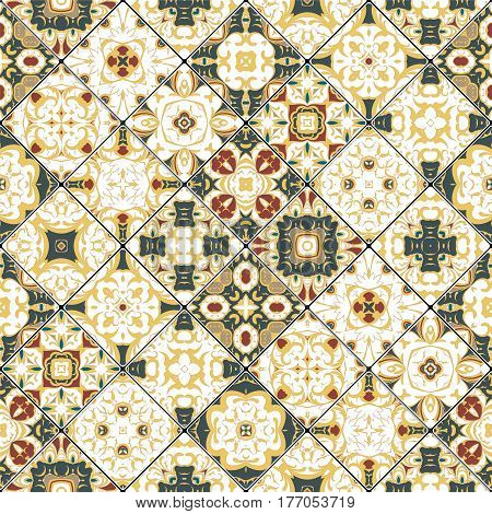 Red, green and yellow abstract patterns in the mosaic set. Square scraps in oriental style. Vector illustration. Ideal for printing on fabric or paper.