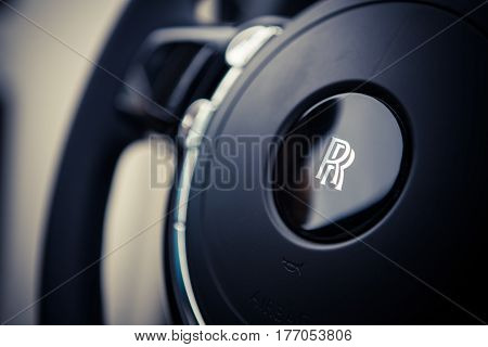 Bucharest Romania - June 22 2016: Close up illustrative editorial shot of the steering wheel from a Rolls Royce car in Bucharest Romania.