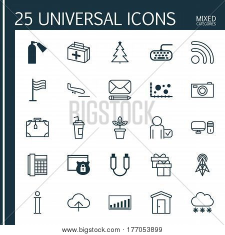 Set Of 25 Universal Editable Icons. Can Be Used For Web, Mobile And App Design. Includes Elements Such As Wireless Router, Farmhouse, Drink Cup And More.