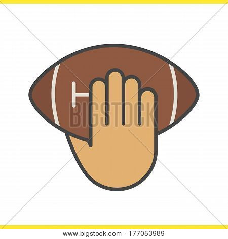 Hand throwing american football ball color icon. Hand holding rugby ball. Inning. Isolated vector illustration