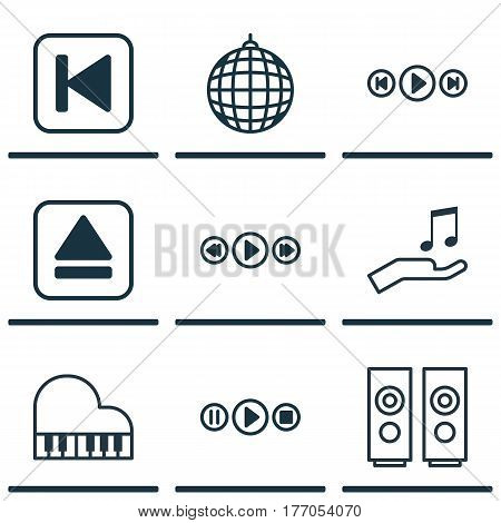 Set Of 9 Music Icons. Includes Dance Club, Song UI, Music Control And Other Symbols. Beautiful Design Elements.