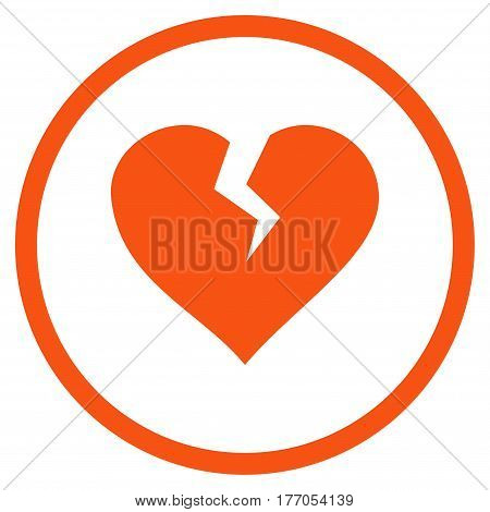 Heart Break rounded icon. Vector illustration style is flat iconic symbol inside circle, orange color, white background.