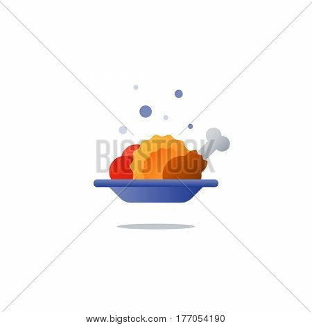 Food meal, full plate, lunch order, serve dinner dish, vector flat illustration