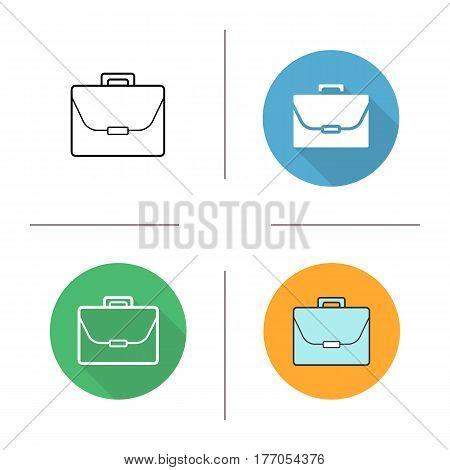 Briefcase icon. Flat design, linear and color styles. Laptop bag. Portfolio. Isolated vector illustrations