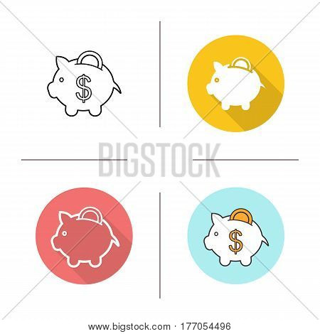 Piggybank icon. Flat design, linear and color styles. Piggy bank with coin. Isolated vector illustrations