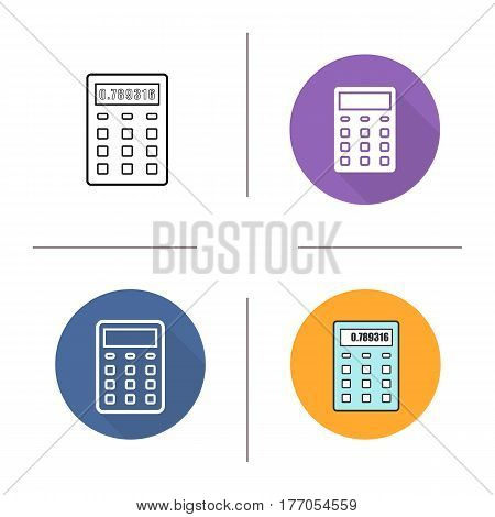 Calculator icon. Flat design, linear and color styles. Isolated vector illustrations