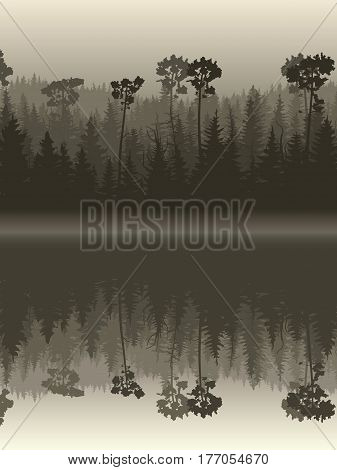 Vertical illustration twilight misty coniferous forest with its reflection in water.