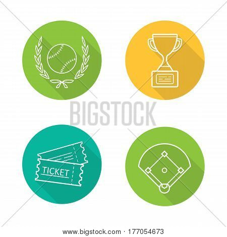 Baseball championship. Flat linear long shadow icons set. Softball ball in laurel wreath, field, tickets, winner's gold trophy cup. Vector line illustration