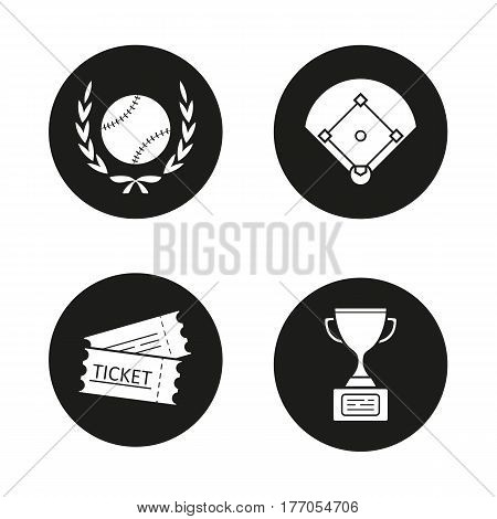 Baseball championship icons set. Softball ball in laurel wreath, field, tickets, winner's trophy cup. Vector white silhouettes illustrations in black circles