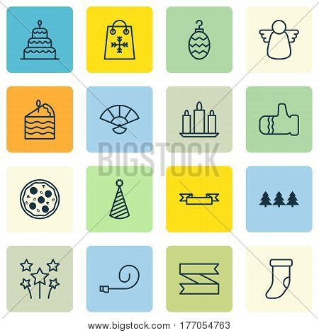 Set Of 16 Christmas Icons. Includes Fireplace Decoration, Mitten, Wax And Other Symbols. Beautiful Design Elements.