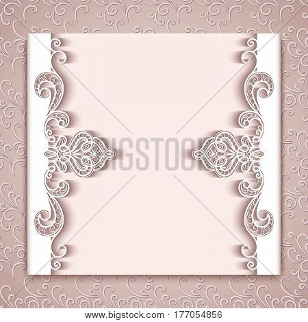Cutout paper lace frame with ornamental borders, laser cut decoration, elegant greeting card, save the date or wedding invitation template