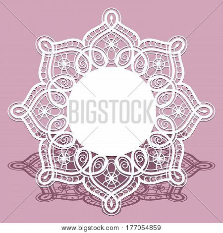 Round cutout paper frame, laser cut lace doily, ornamental snowflake label, elegant decoration for laser cutting or wood carving, save the date card or wedding invitation design