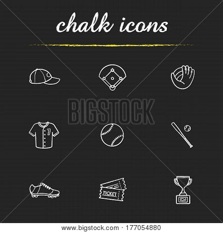Baseball accessories chalk icons set. Cap, field, mitt, shirt, ball, bat, shoe, tickets, winner's award. Softball player's kit. Isolated vector chalkboard illustrations
