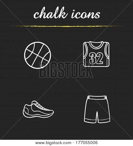 Basketball chalk icons set. Ball, shoe, t-shirt, shorts. Basketball player's uniform. Isolated vector chalkboard illustrations