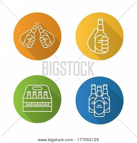 Beer flat linear long shadow icons set. Cheers, box, toasting hands with beer bottles. Vector line symbols