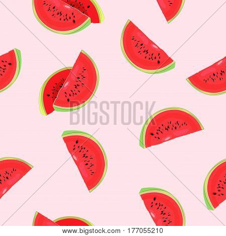 Background with watermelon . Seamless. Summer, fruit. Vector illustration.