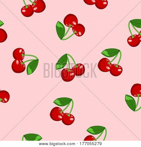 Background with cherry. Seamless. Summer, fruit. Vector illustration.