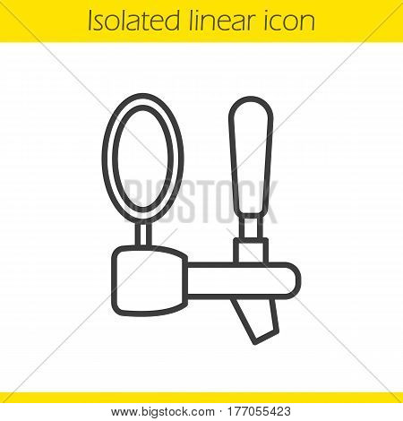 Beer tap linear icon. Thin line illustration. Contour symbol. Vector isolated outline drawing