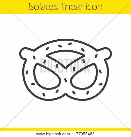 Pretzel linear icon. Thin line illustration. Oktoberfest brezel contour symbol. Vector isolated outline drawing