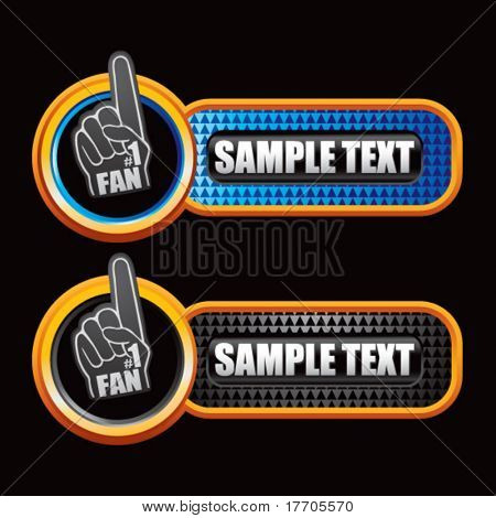 fan foam hand on blue and black checkered banners