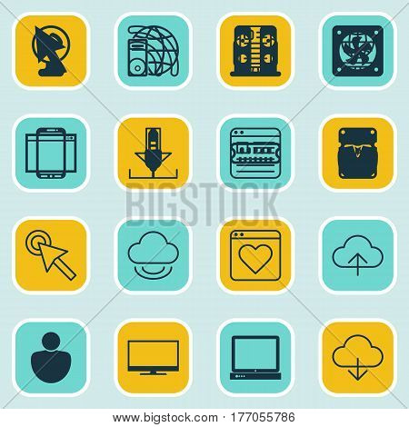 Set Of 16 World Wide Web Icons. Includes Followed Website, Wifi, Website Page And Other Symbols. Beautiful Design Elements.