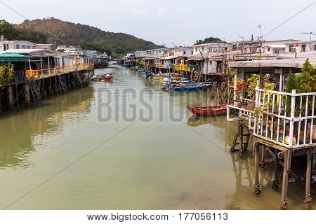 picture of traditional stilt houses in Tai O on Lantau Island Hongkong poster