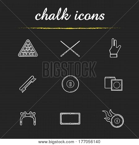 Billiard chalk icons set. Pool ball rack, cues, brush, glove, eight ball, chalk, table, rest head, burning ball. Isolated vector chalkboard illustrations