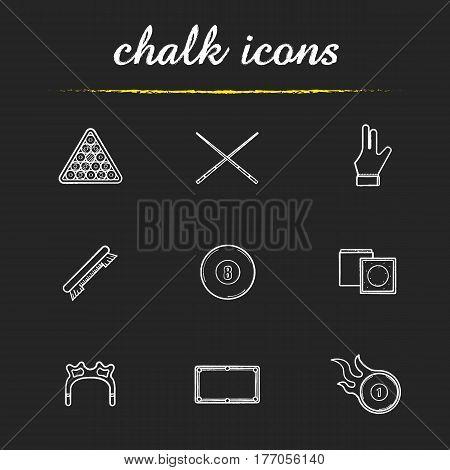 Billiard chalk icons set. Pool ball rack, cues, brush, glove, eight ball, chalk, table, rest head, burning ball. Isolated vector chalkboard illustrations