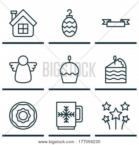 Set Of 9 Celebration Icons. Includes Christmas Toy, Festive Fireworks, Winter Cup And Other Symbols. Beautiful Design Elements.