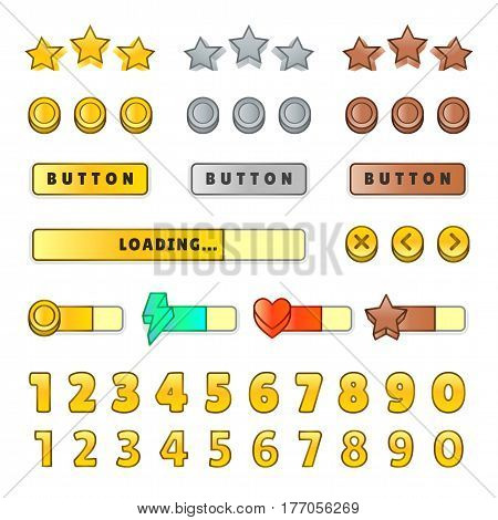 Game graphical user Interface GUI. Design, buttons and icons. Game ui kit illustration isolated on white background. Stars, coins, text fields, buttons, numbers.