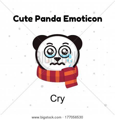 Panda Bear crying. A panda bear weeps. Illustration on a white background. Panda sad Emoji. Chinese bear sadness cry emotion. Emoji character cartoon Panda stickers emoticons with sad cry emotion for site, info graphic, video, animation, websites, e-mails