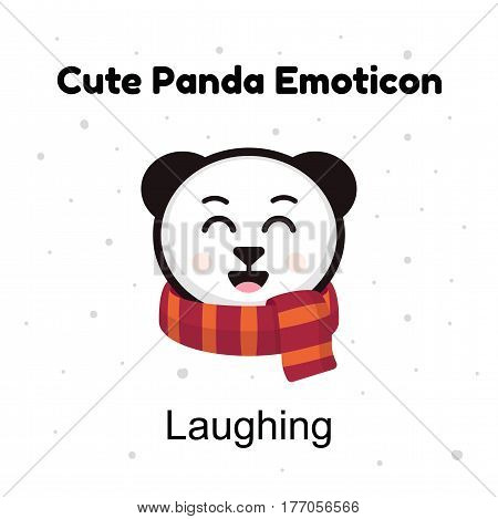 Cute cartoon emoticon baby panda laughing. Emoji character cartoon Panda stickers emoticons with happy emotion. Chinese bear happy laughing emotion. Emoji character cartoon Panda stickers emoticons for site, info graphic, video, animation, websites, e-mai