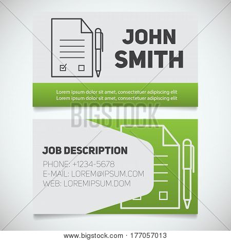 Business card print template with signed contract and pen logo. Manager. Lawyer. Negotiator. Advocate. Stationery design concept. Vector illustration