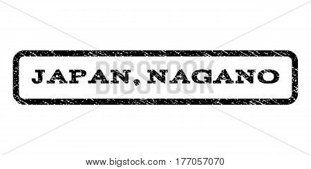 Japan Nagano watermark stamp. Text tag inside rounded rectangle with grunge design style. Rubber seal stamp with dust texture. Vector black ink imprint on a white background.