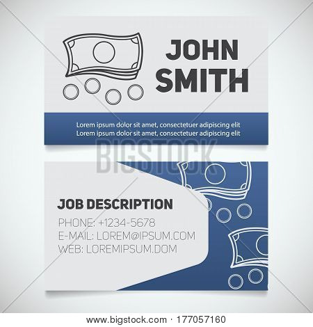 Business card print template with cash and coins logo. Businessman. Accountant. Stationery design concept. Vector illustration