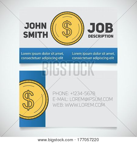 Business card print template with dollar coin logo. Financier. Accountant. Businessman. Stationery design concept. Vector illustration