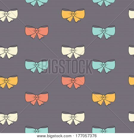Seamless pattern with pink bows on a gray background. Vector illustration.