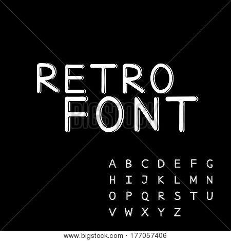 Retro alphabet vector font. Type letters. Black background