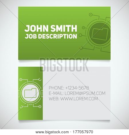 Business card print template with folder logo. Manager. System admin. Programmer. Stationery design concept. Vector illustration
