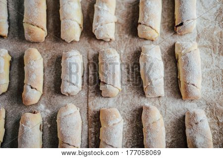 Vanilla Crescents Before Baking. Vanilla Rolls. Roll Pastry Cook